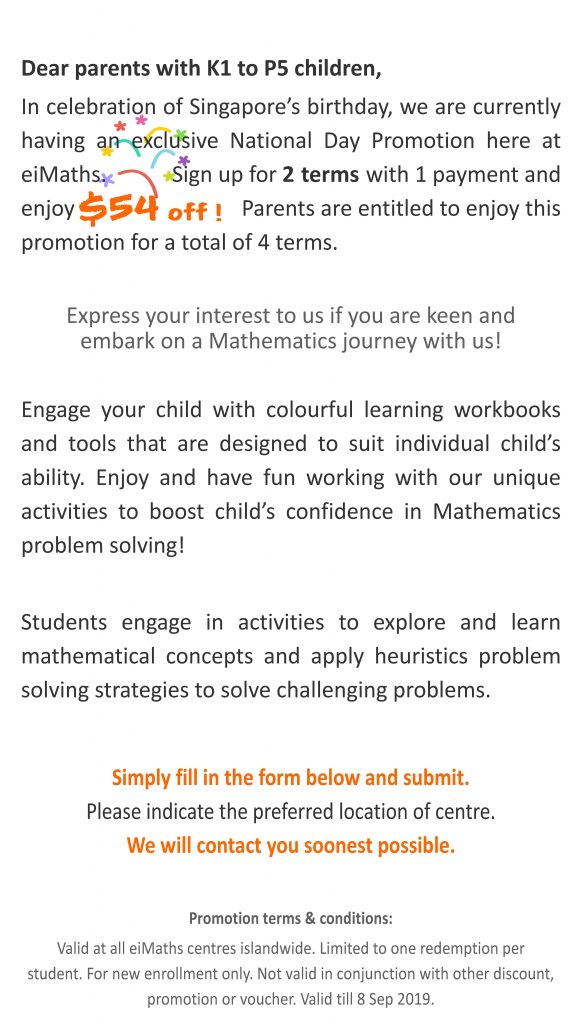 Promotions – Singapore Best Maths Tuition Enrichment Centre with